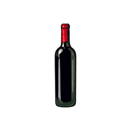 red wine bottle: Red wine bottle, sketch style illustration isolated on white background. Realistic drawing of an unlabeled, unopened wine bottle