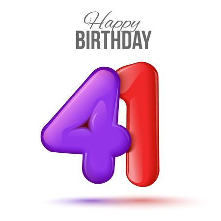 forty: forty one birthday greeting card template with 3d shiny number forty one balloon on white background. Birthday party greeting, invitation card, with number 41 shaped balloon