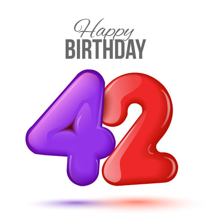 forty two birthday greeting card template with 3d shiny number forty two balloon on white background. Birthday party greeting, invitation card, banner with number 42 shaped balloon