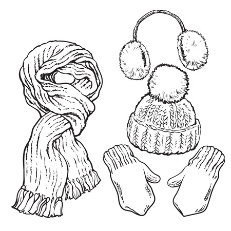 ear muffs: Set of bright knotted scarf, hat, ear muffs and mittens, sketch style vector illustrations isolated on white background. Hand drawn woolen scarf, hat with a pompom, mittens and ear warmers