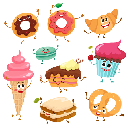 Set of funny dessert characters - donut, croissant, cupcake, cake, tiramisu, pretzel, macaroon, cartoon style vector illustration isolated on white background. Cute smiley sweets, dessert characters Illusztráció