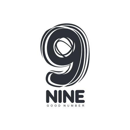 numero nueve: estilo de dibujo de la plantilla número nueve en blanco y negro, ilustración vectorial aislados en fondo blanco. blanco y negro mano libre, hecho a mano mirando número nueve gráfico