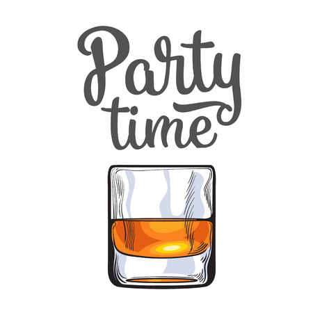party time: Scotch whiskey, rum, brandy shot glass, sketch style vector poster, banner, invitation template design. Realistic hand drawing of a glass of whiskey shot, party time concept