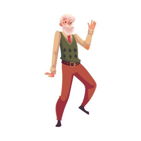 Oud, senior, grijze man gelukkig dansen, cartoon stijl vector illustratie op een witte achtergrond. Volledige lengte portret van de oude man met een witte snor en baard dansen