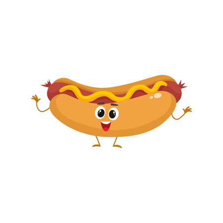 wiener: Funny hot dog fast food kids menu character, cartoon style vector illustration isolated on white background. Funny hot dog, wiener, frankfurter character with eyes, legs, and a wide smile Illustration