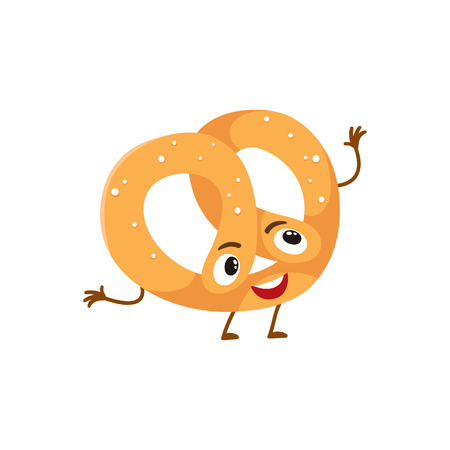 freshly baked: Funny freshly baked pretzel character, cartoon style vector illustration isolated on white background. Cute pretzel character with eyes, legs, and a wide smile