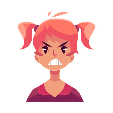 teen girl face: Teen girl face, angry facial expression, cartoon vector illustrations isolated on white background. Red-haired girl emoji face, feeling distresses, frustrated, sullen, upset. Angry face expression