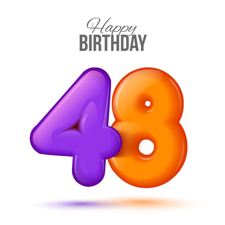 forty eight birthday greeting card template with 3d shiny number forty eight balloon on white background. Birthday party greeting, invitation card, banner with number 48 shaped balloon