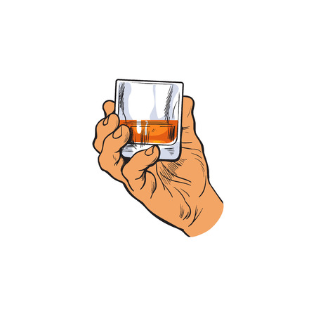 Mano che regge un bicchiere pieno di whisky, schizzo stile illustrazione vettoriale isolato su sfondo bianco. Illustrazione della mano di una mano maschile con un tiro di rum, whisky, cognac, il tempo di bere concetto