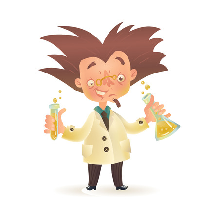 bushy: Stereotypic bushy haired mad professor in lab coat holding chemical flask and test tube, cartoon illustration isolated on white background. Crazy comic scientist, mad professor, chemist, doctor Illustration