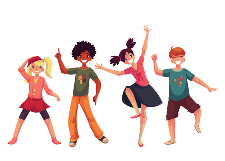 Los niños pequeños que bailan expresivamente, ilustración vectorial estilo de dibujos animados aislado en el fondo blanco. Los niños, los niños bailando feliz y sonriente salvajemente Foto de archivo - 67913067