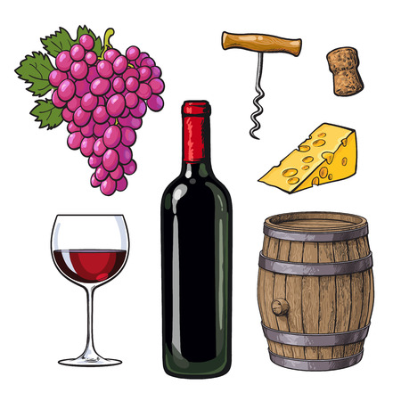 Wine set of bottle, glass, barrel, grapes, cheese, cork and corkscrew, sketch vector illustration isolated on white background. Hand drawn wine barrel, glass, grapes and bottle, corkscrew and cheese Ilustração