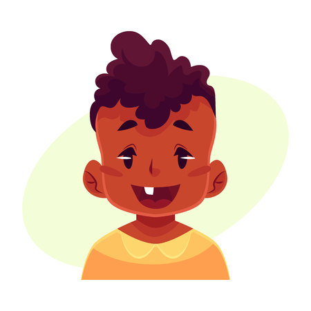 Little boy face, wow facial expression, cartoon vector illustrations isolated on yellow background. black male kid emoji face surprised, amazed, astonished. Surprised, wow face expression Illustration