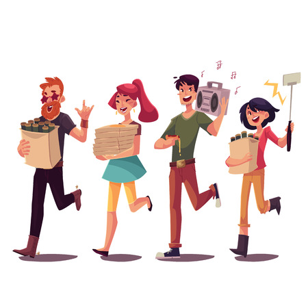 Set of friends hurrying to a party, fetching beer, pizza, music, making selfie, cartoon style vector illustration isolated on white background. Boys and girls getting ready for a party and having fun Ilustração Vetorial