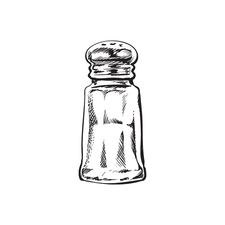 손으로 그려진 된 소금 밀, 셰이 커, 분쇄기, 스케치 스타일 벡터 일러스트 레이 션 흰색 배경에 고립. 소금 그라인더, 쉐이 커 또는 밀, 측면보기, 다채로운 그림의 흑인과 백인 그리기