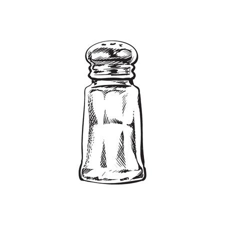 Hand getrokken zoutmolen, shaker, grinder, schets stijl vectorillustratie geïsoleerd op een witte achtergrond. Het trekken van zwart en wit van zoute molen, schudbeker of molen, zijaanzicht, kleurrijke illustratie