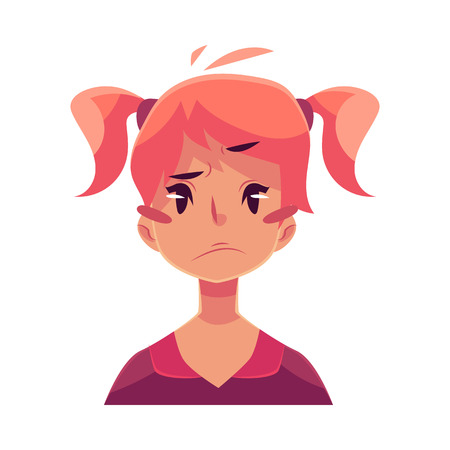 Teen girl face, upset, confused facial expression, cartoon vector illustrations isolated on white background. Red-haired girl emoji face, concerned, confused frustrated. Illustration
