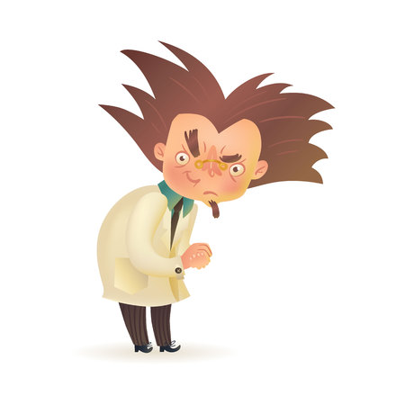Bushy haired evil mad professor with raised eyebrow in lab coat rubbing hands, cartoon illustration isolated on white background. Crazy comic scientist, mad professor, chemist, doctor