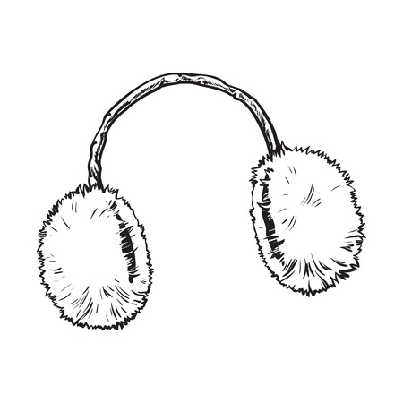 ear muffs: Bright fluffy fur ear muffs, sketch style vector illustrations isolated on white background. Hand drawn fluffy ear warmers, ear muffs made of fur, winter accessory