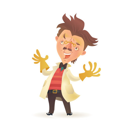 mad: Bushy haired mad professor wearing lab coat and raising hands in rubber gloves, cartoon illustration isolated on white background. Crazy comic scientist, mad professor, chemist, doctor