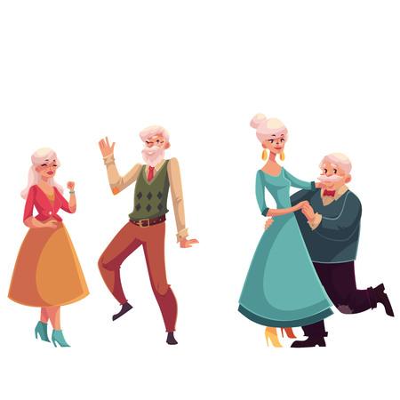 Dos parejas de ancianos, personas mayores bailando juntos, ilustraciones de vectores de estilo de dibujos animados aislados sobre fondo blanco. Dos parejas de ancianas y caballeros bailando románticamente Foto de archivo - 67913098