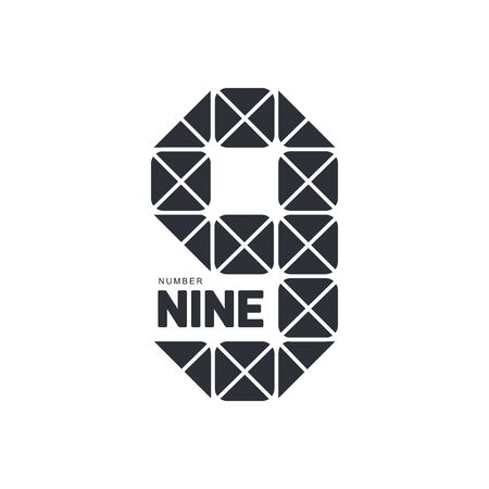number nine: Black and white number nine geometrical  template formed by triangles, vector illustration isolated on white background. Black and white number nine geometrical graphic