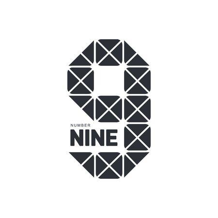 numero nueve: blanco y negro número nueve plantilla geométrica formada por triángulos, ilustración vectorial aislados en fondo blanco. blanco y negro número nueve gráfico geométrico