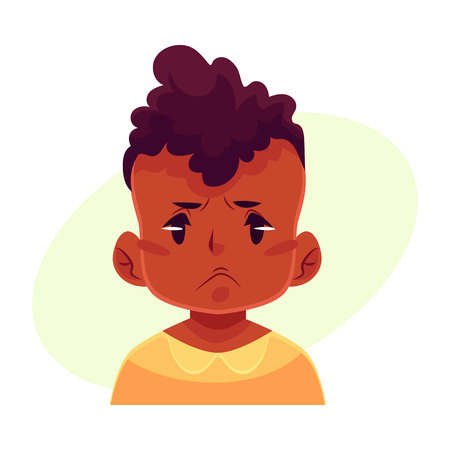 Little boy face, angry facial expression, cartoon vector illustrations isolated on yellow background. black male kid emoji face, feeling distresses, frustrated, sullen, upset. Angry face expression Vector Illustration