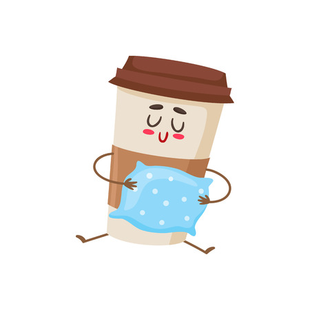 waking up: Funny sleepy paper coffee cup character with a pillow, cartoon style vector illustration isolated on white background. Cute take away coffee cup character, waking up concept Illustration