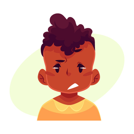 concerned: Little boy face, upset, confused facial expression, cartoon vector illustrations isolated on yellow background. black male kid emoji face, concerned, confused frustrated. Illustration