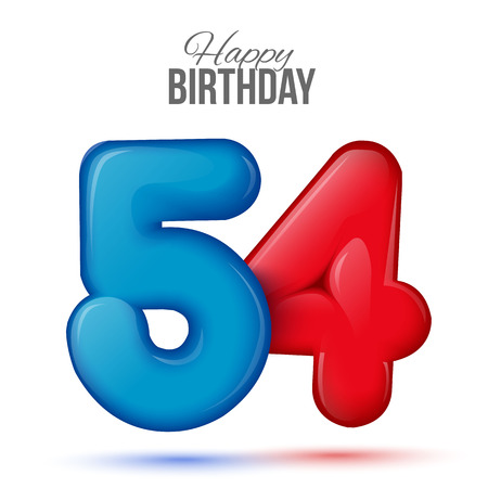 50 54 years: fifty four birthday greeting card template with 3d shiny number fifty one balloon on white background. Birthday party greeting, invitation card, banner with number 54shaped balloon Illustration