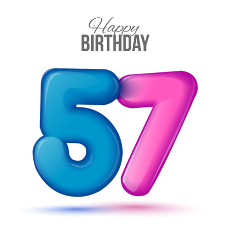 fifty seven birthday greeting card template with 3d shiny number fifty seven balloon on white background. Birthday party greeting, invitation card, banner with number 57 shaped balloon