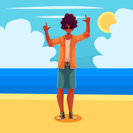 Young african american man dancing on the beach, cartoon vector illustration. Young and beautiful black man, teenager, boy dancing at the beach on a wonderful sunny day