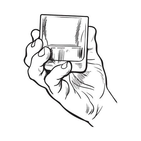 Hand houden vol glas whiskey, schets stijl vector illustratie op een witte achtergrond. Hand tekening zwart en wit van mannelijke hand met een schot van rum, whisky, cognac, tijd om begrip te drinken