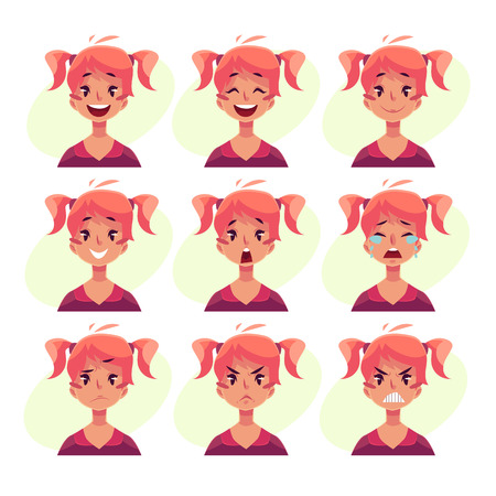 teen girl face: Teen girl face expression, set of cartoon vector illustrations isolated on yellow background. Red-haired girl with ponytails emoji face icons, set of female teen avatars with different emotions Illustration