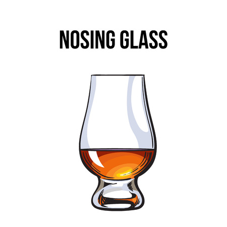 Scotch whiskey, rum, brandy nosing glass, sketch style vector illustration isolated on white background. Realistic hand drawing of a nosing glass for whiskey, scotch, brandy