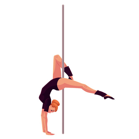 pole dancer: Young pole dance woman in black leotard doing hand stand, cartoon style vector illustration isolated on white background. Young, slim and beautiful pole dancer standing on hands