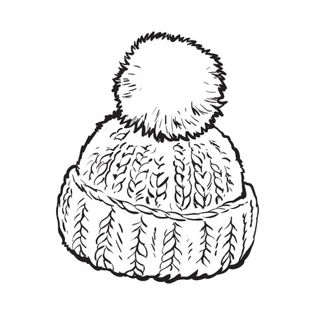 woolen: Bright winter knitted hat with pompon, sketch style vector illustrations isolated on white background. Hand drawn woolen hat with a big fluffy pompom, winter accessory Illustration