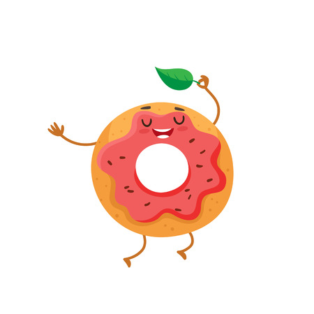 Funny donut character with pink glazing and chocolate sprinkles, cartoon style vector illustration isolated on white background. Cute smiley freshly donut character with eyes and legs Illustration