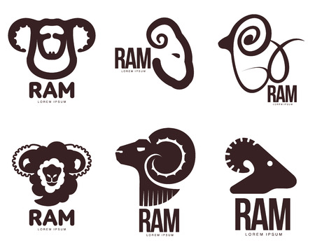 Set Of Ram, Sheep, Lamb Head Graphic Templates, Vector Illustration ...