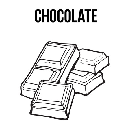 Pieces of black and white chocolate bar, sketch style vector illustration isolated on white background. Hand drawn chocolate bar broken into pieces, appetizing realistic drawing Vettoriali