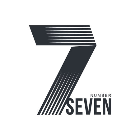 number seven: Black and white number seven template formed by repeating lines, vector illustration isolated on white background. Black and white number seven graphic