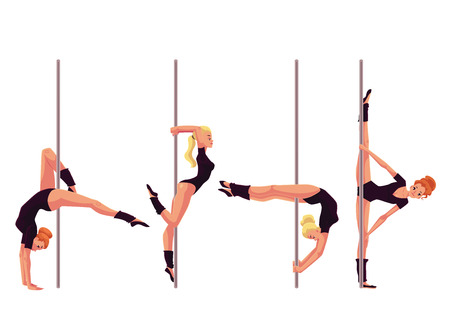 Set of four young pole dance women, cartoon style vector illustration isolated on white background. Young, slim and beautiful pole dancers in black leotards showing some tricks