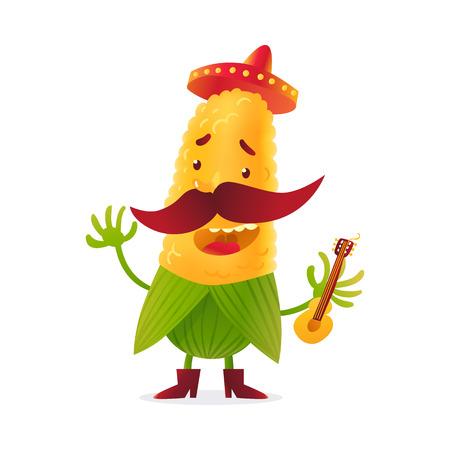 Gelukkig graankarakter in laarzen en Mexicaanse deelneming gitaar, cartoon vector illustratie op een witte achtergrond. Gele maïs in laarzen en sombrero met dikke snor spelen Mexicaanse gitaar Stock Illustratie