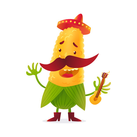 Happy corn character in boots and Mexican holding guitar, cartoon vector illustration isolated on white background. Yellow corn in boots and sombrero with thick moustache playing Mexican guitar Illustration