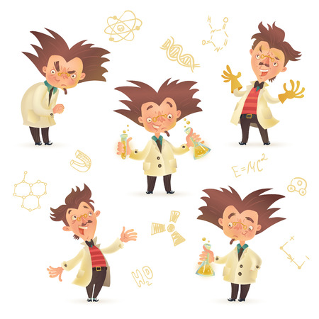 Stereotypic bushy haired mad professor wearing lab coat in various poses, cartoon illustration isolated on white background. Crazy laughing comic scientist, mad professor, chemist, doctor