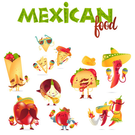 spicy mascot: Set of happy Mexican food characters playing musical instruments, cartoon vector illustration isolated on white background. Mexican food characters, mascots in traditional clothes playing music