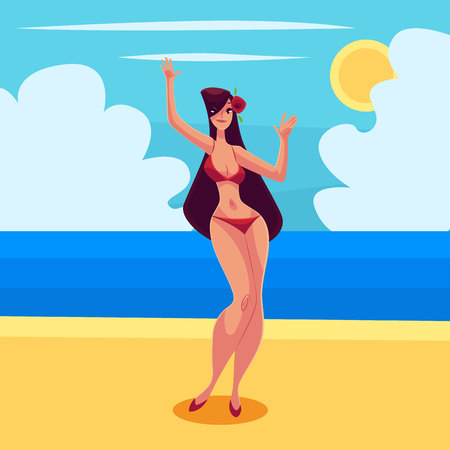 Young curvy woman with long black hair in red bikini dancing, cartoon style vector illustration isolated on white background. Young and beautiful block haired girl dancing at a beach party in bikini