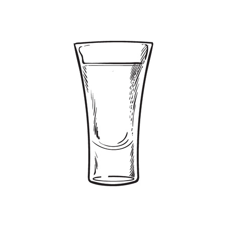 shot: Full glass of black and white tequila, sketch vector illustration isolated on white background. Hand drawn tequila, gin, brandy, rum, whiskey alcohol beverage shot