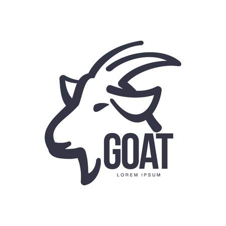 Side view goat head logo template for meat and dairy products, cartoon vector illustration on white background. Goat profile outline for dairy, meat, farm products logo design Ilustracja